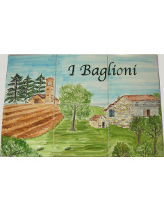 Fresque sur carreau en faïence Paysage Italien