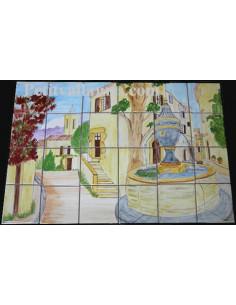 Fresque sur carreau décor Rue et Village Sud de la France