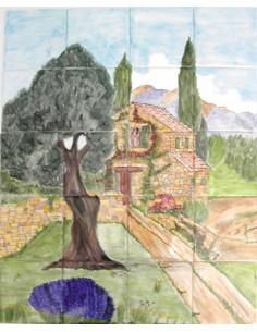 Fresque murale sur carrelage décor vieille bastide et olivier