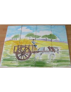 Fresque murale sur carreau décor Charette et Cheval