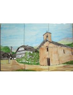 Fresque mural en faïence carrelage décor Village Queyras