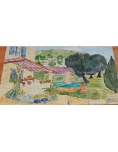 Fresque murale carrelage décor Pergola, Fontaine et Olivier