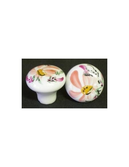 Bouton de tiroir en porcelaine blanche décor artisanal Fleur saumon (diamètre 30 mm)