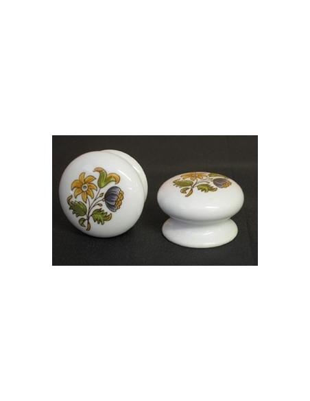 Bouton de tiroir en porcelaine blanche décor fleurs polychromes (diamètre 35 mm)