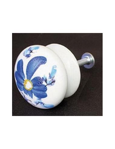 Bouton de tiroir meuble décor bleu Tahiti (diamètre 35 mm)