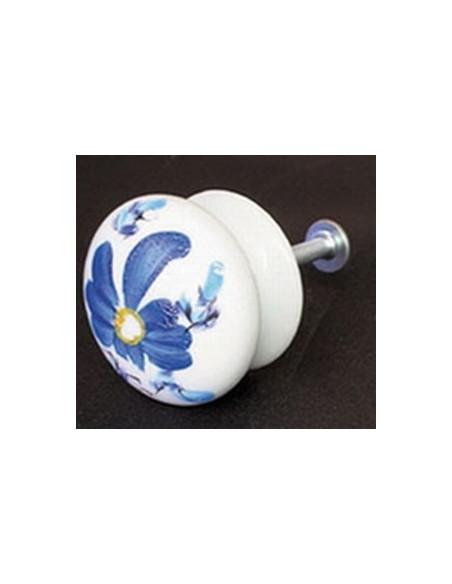 Bouton de tiroir en porcelaine blanche décor artisanal bleu Tahiti (diamètre 35 mm)