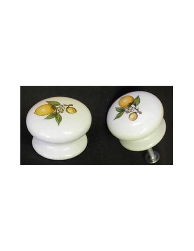 Bouton de tiroir meuble décor Citron (diamètre 35 mm)