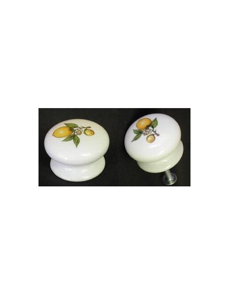Bouton de tiroir en porcelaine blanche pour meuble décor Citron (diamètre 35 mm)
