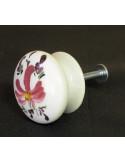 Bouton de tiroir meuble décor Fleur rose (diamètre 35 mm)