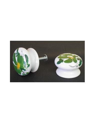 Bouton de tiroir meuble décor Fleur verte (diamètre 35 mm)