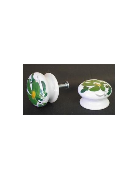Bouton de tiroir en porcelaine blanche pour mobilier décor artisanal fleuri vert (diamètre 35 mm)