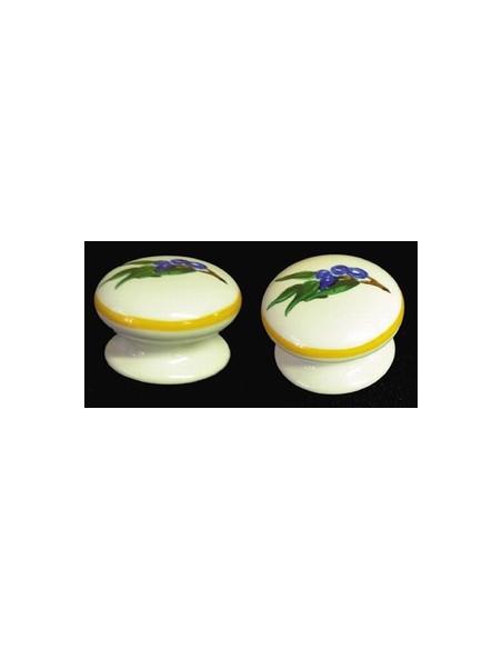 Bouton de tiroir en porcelaine blanche pour mobilier décor artisanal Olives bleues (diamètre 35 mm)
