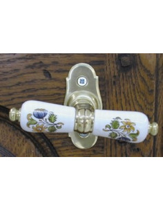 Poignée Crémone laiton décor Tradition Vieux Moustiers polychrome