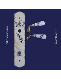 Plaque de propreté avec poignée en porcelaine modèle fermeture avec verrou condamnation motif tradition bleu