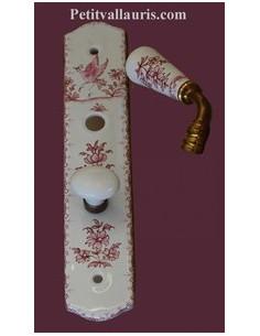 Plaque de propreté avec poignée en porcelaine modèle fermeture avec verrou condamnation motif tradition rose