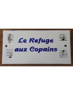Plaque de maison faience émaillée décor notes de musique inscription personnalisée bleues