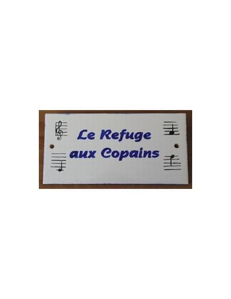 Plaque de maison en faience émaillée décor notes de musique inscription personnalisée bleues