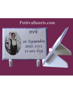 Plaque funéraire à poser inscription personnalisée et photo couleur