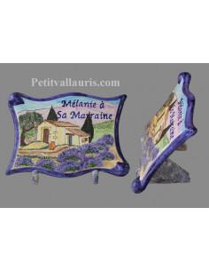 Plaque funéraire céramique décor paysage Provençal