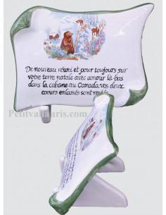 Plaque funéraire en céramique modèle parchemin décor Marmottes