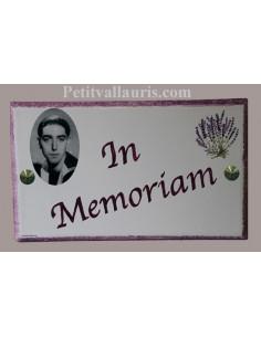 Plaque funéraire texte personnalisé et cadre photo noir et blanc à fixer