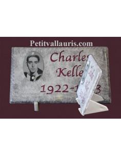 Plaque funéraire texte personnalisé photo noir et blanc fond gris
