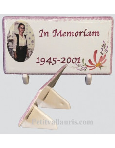 Plaque funéraire décor fleuri rose et texte personnalisé photo couleur