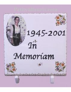 Plaque funéraire décor Tradition Vieux Moustiers et photo couleur