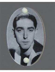 Plaque funéraire ovale avec photo personnalisée noir et blanc