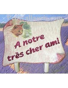 Plaque funéraire parchemin sur fond rose décor Chat (n°6)