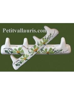 Accroche torchon 4 crochets décor Fleur verte