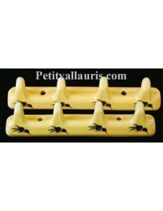 Accroche torchon 4 crochets décor jaune provençal et olives noires