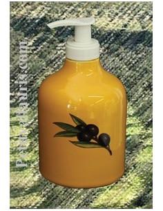 Distributeur de savon liquide décor Provençal olives noires