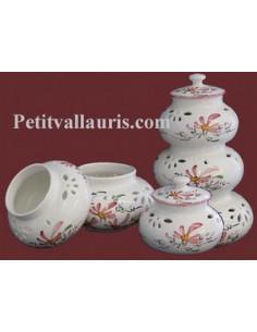 Conservateur Ail, Oignon, Echalotte décor fleur rose