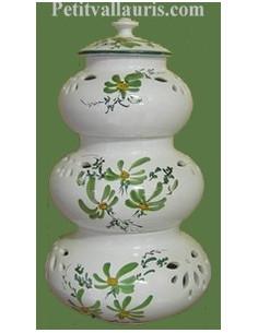 Conservateur Ail, Oignon, Echalotte décor fleur verte