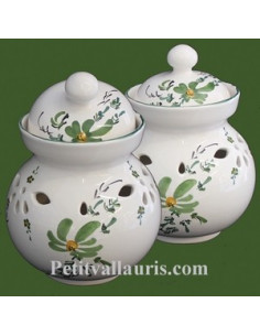 Pot à ail en faïence décor fleur verte