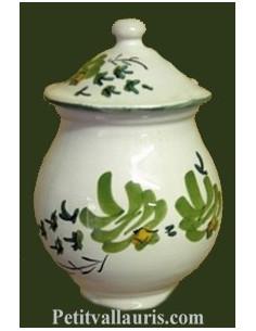 Pot à moutarde jarre en faïence décor fleur verte