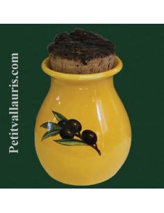 Pot à herbes de provence couleur jaune provençal décor Olives