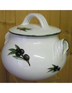 Poubelle de table blanche couleur blanche et olives noires