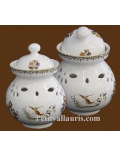 Pot à ail en faïence décor Tradition Vieux Moustiers polychrome