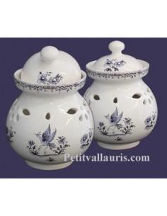 Pot à ail en faïence décor Tradition Vieux Moustiers bleu