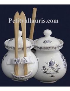 Pot à cornichons décor Tradition Vieux Moustiers bleu