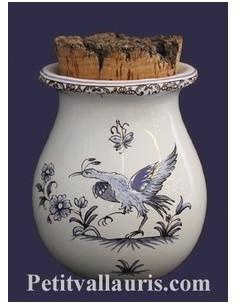 Pot à herbes de provence décor Tradition Vieux Moustiers bleu