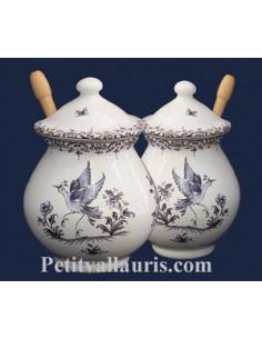 Pot à Moutarde jarre décor Tradition Vieux Moustiers bleu