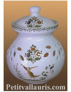 Pot à oignon en faïence décor Tradition Vieux Moustiers polychrome