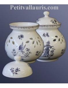 Pot à oignon en faïence décor Tradition Vieux Moustiers bleu