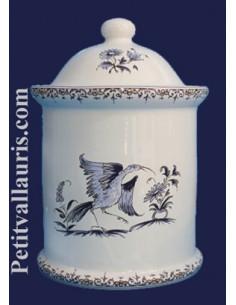 Pot de cheminée rond taille 4 décor Tradition Vieux Moustiers bleu