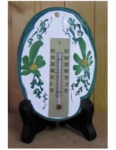 Thermomètre mural ovale en faïence décor Fleuri vert