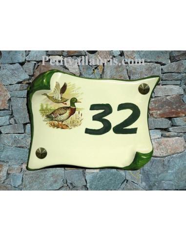 Plaque de Maison parchemin décor canard col vert inscription personnalisée verte