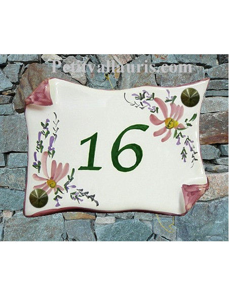 Plaque de Maison en faience modèle parchemin motif fleurs roses inscription personnalisée bleue